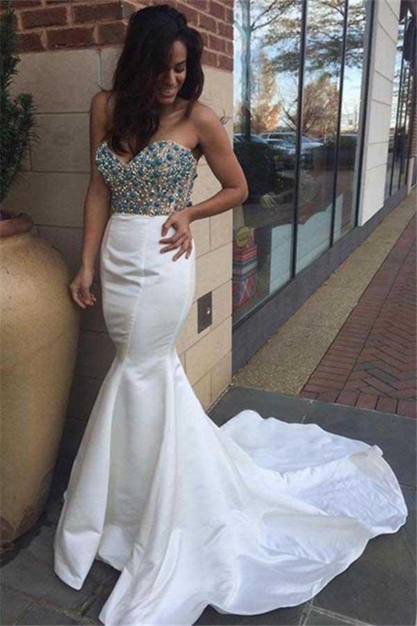 White Beaded Mermaid Evening Prom Dresses, Long Party Prom Dress, Custom Long Prom Dress, Cheap Party Prom Dress, Formal Prom Dress, 17026