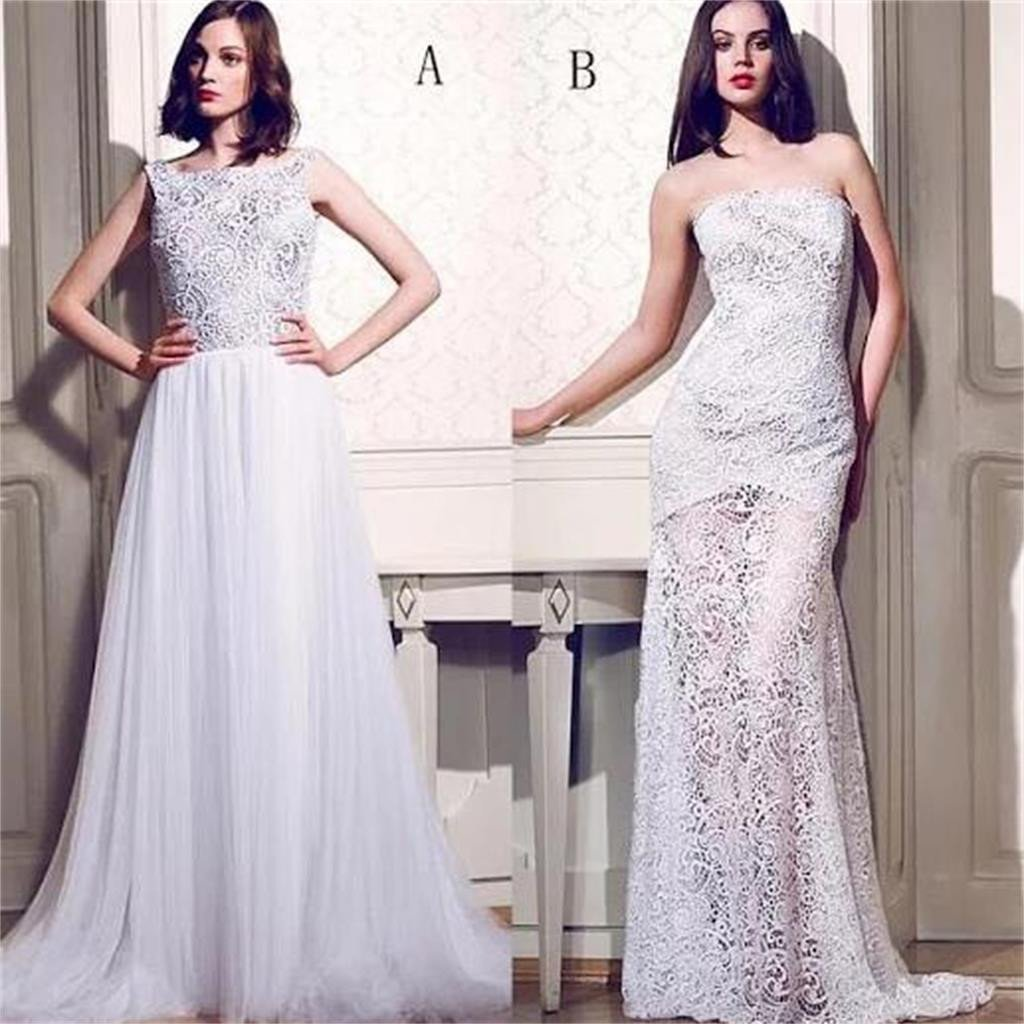 White Lace Two Styles Unique Formal A Line Cheap Evening Party Long Prom Dresses, PD0203