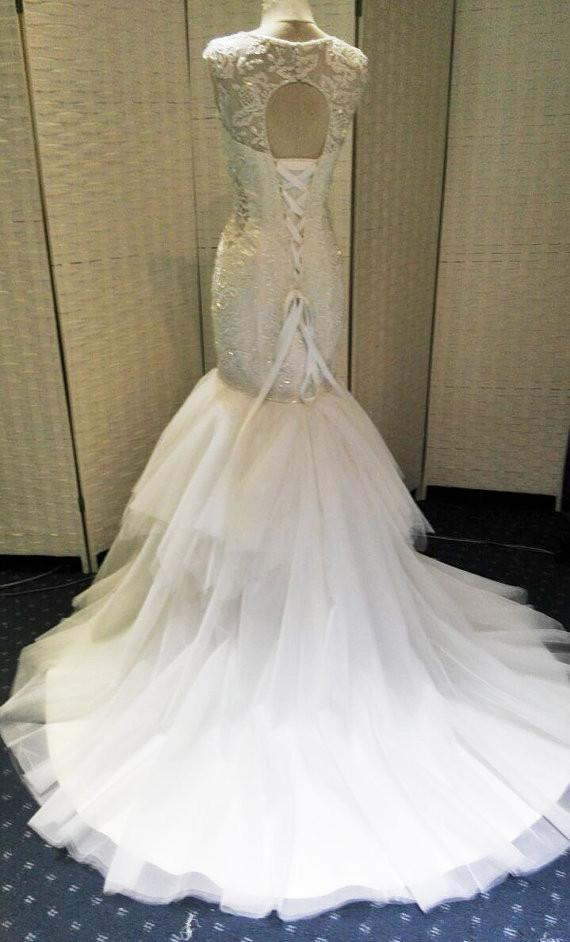 White Mermaid Open Back Lace Up Charming Beaded Long Wedding Bridal Dresses, WG625
