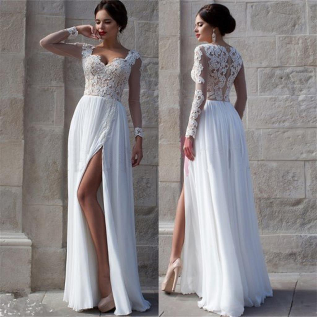 White Prom Dresses, Side Slit Prom Dresses,Elegant Prom Dresses,Custom Prom Dresses,Cheap Wedding Dresses,Party Prom Dresses,Prom Dresses Online,PD0072