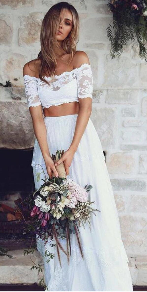 White Sexy Two Pieces Long Sleeve Lace Wedding Dresses Online, WD360