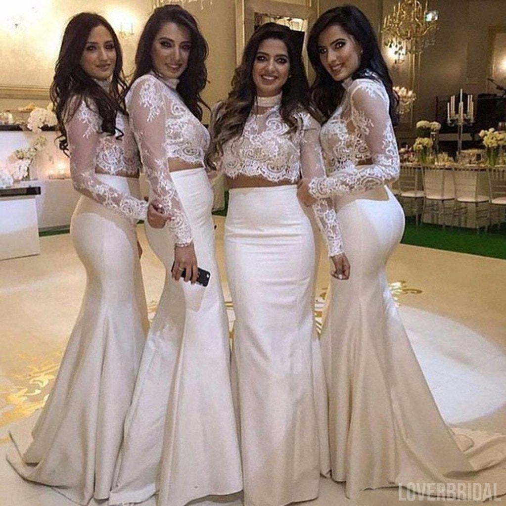 White Two Pieces Long Sleeves Lace Mermaid Cheap Long Wedding Party Bridesmaid Dresses, WG305