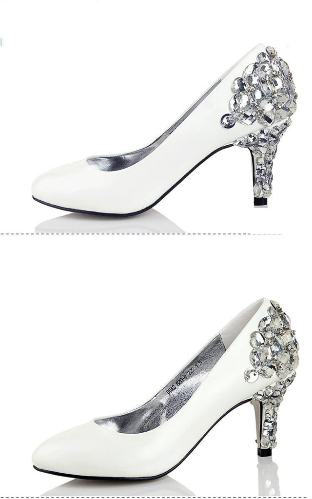 Women's Sparkly Crystal High Heels Pointed Toe White Wedding Bridal Shoes, S006