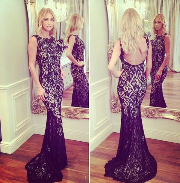 Women Sexy Mermaid Backless Black Lace Cheap Evening Long Prom Dresses, WG220