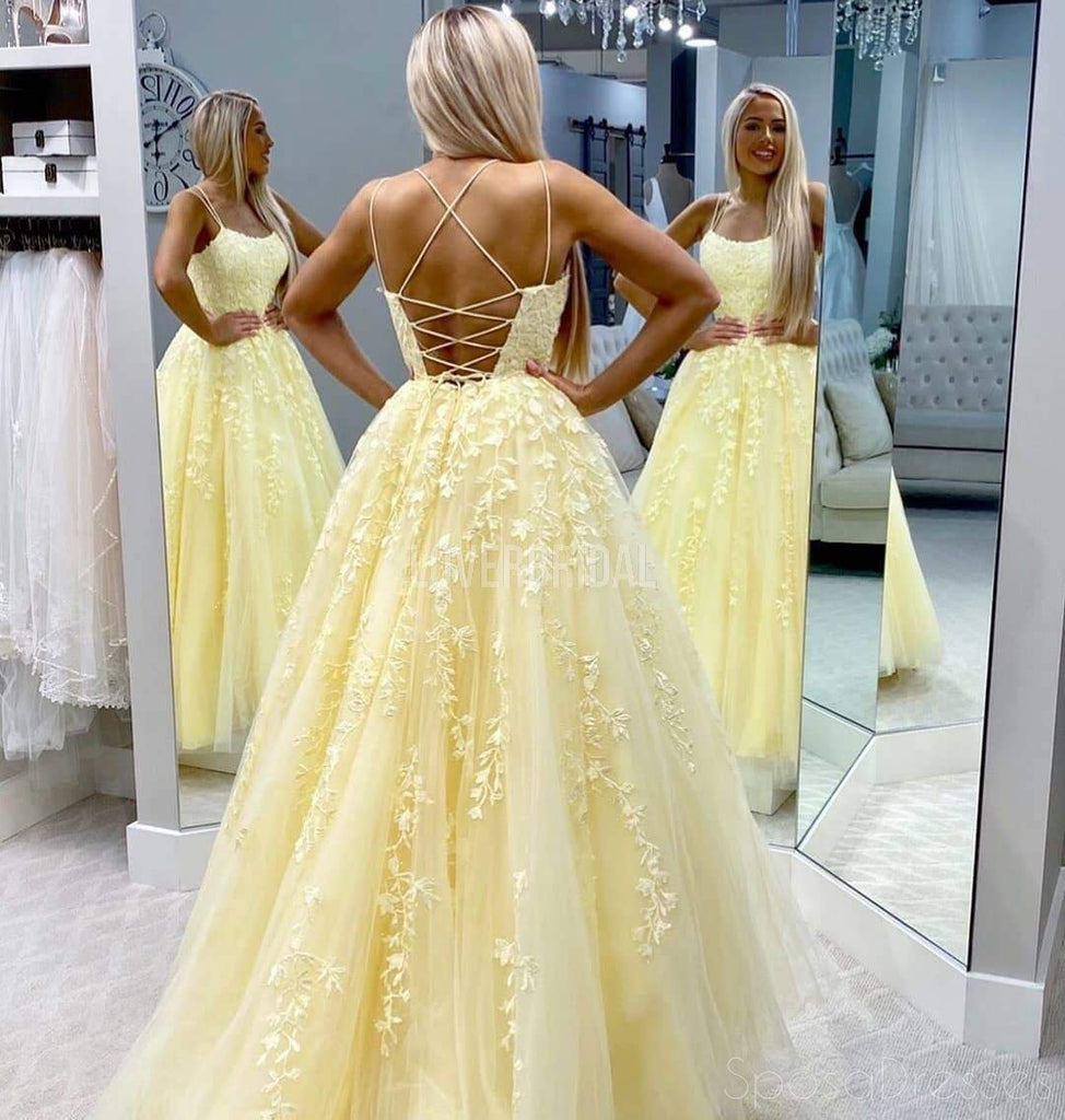 Yellow Lace Applique Beaded Evening Prom Dresses, Evening Party Prom Dresses, 12272