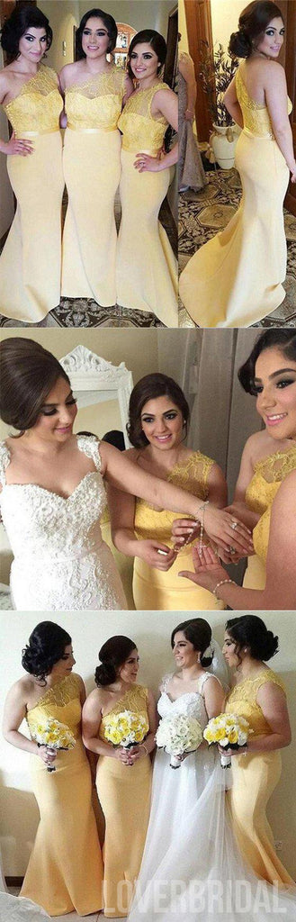 Yellow One Shoulder Lace Mermaid Charming Cheap Long Wedding Party Bridesmaid Dresses, WG304