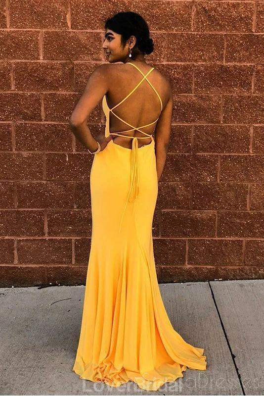 Yellow Sexy Mermaid Simple Cheap Evening Prom Dresses, Evening Party Prom Dresses, 12184