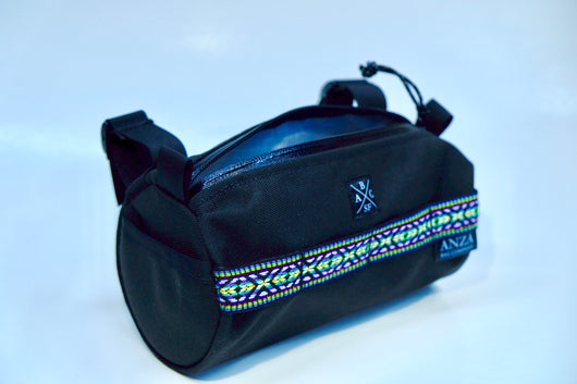 Handlebar Bag- Black with purple and green Aztec trim