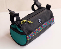 ABCSF Handlebar Bag- Black with Teal Side Panels and Aztec trim