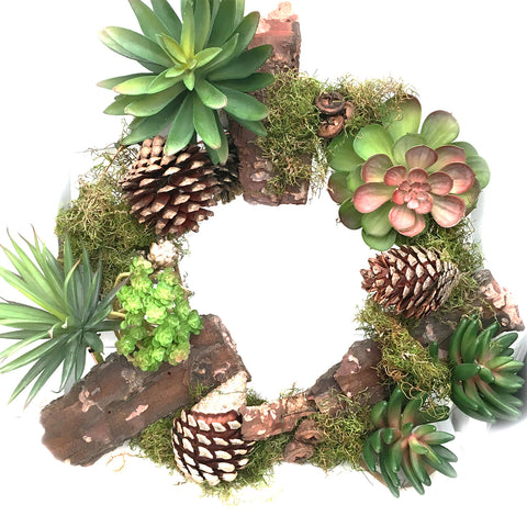 Succulent and Cone Wreath