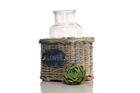 Flower' Willow Basket with Bottle