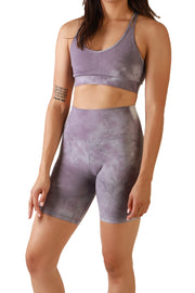 "The Biker (8"") Dream Shorts: Tie Dye Lavender"