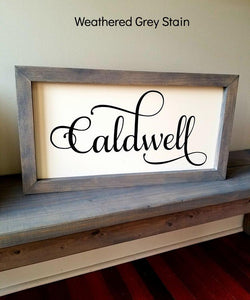 Farmhouse Style Last Name Wood Sign