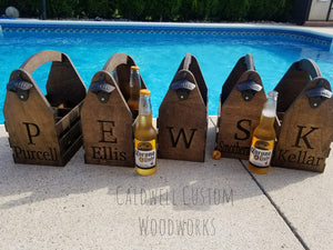 Personalized Drink Caddy with Carved Name