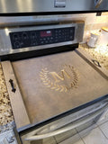 Oven Cover- Noodle board - Custom built, stained and custom carved