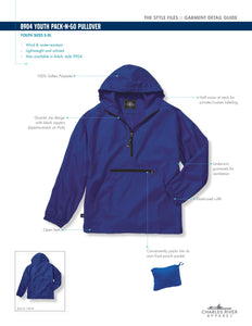 Charles River Youth Pack N Go Half Zip Rain Jacket