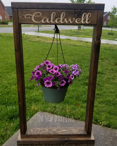 Custom plant holder with carved name