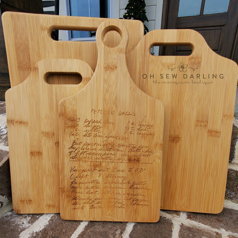 Custom Handwriting Bamboo Cutting Board