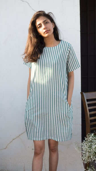 Green Striped Dress - Xl
