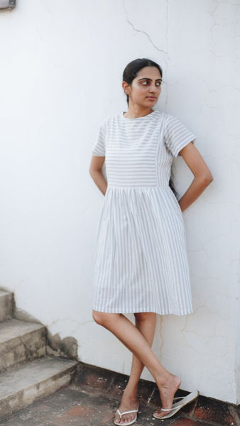 Grey Striped Shift Dress