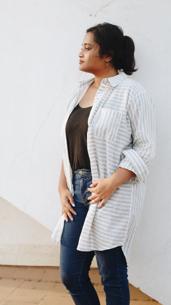 Grey Striped Shirt Tunic/dress - Tunic