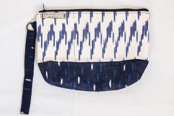 Navy Blue Ikat Pouch - Bags