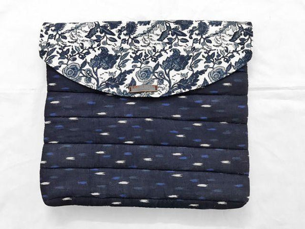 Navy Blue Printed And Ikat Laptop Sleeve - Quilted - Bags