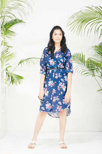 Navy Blue Printed Floral Print Shift Dress - Tunic