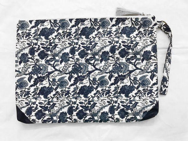 Navy Blue Printed Laptop Sleeve - Bags