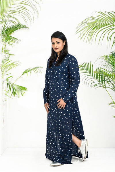 Navy Blue Star Print Dress
