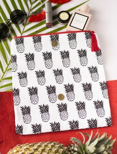 Pineapple Balck And White Print - Bags