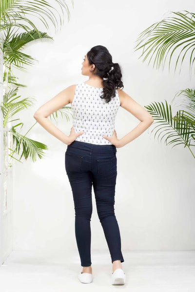Sleeveless Navy Blue Cambric Cross Weave On White Top