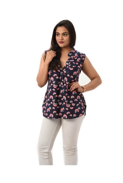 Sleeveless Navy Blue Printed Top