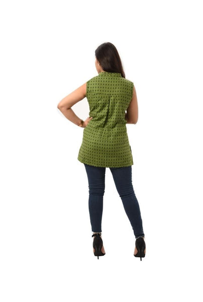 Sleeveless Reversible Printed Top - Green