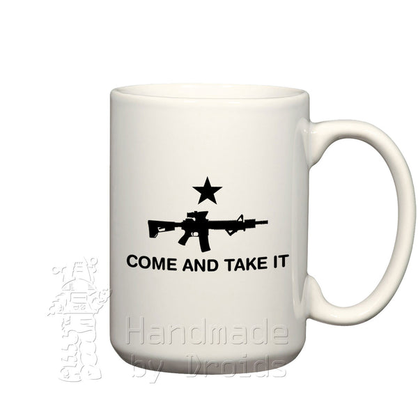 Come and take it ceramic coffee mug rifle m4 carbine m16