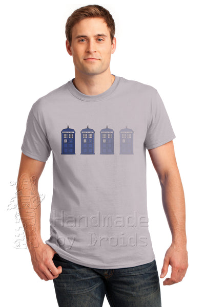 Doctor Who Disappearing TARDIS Ice Gray Tee