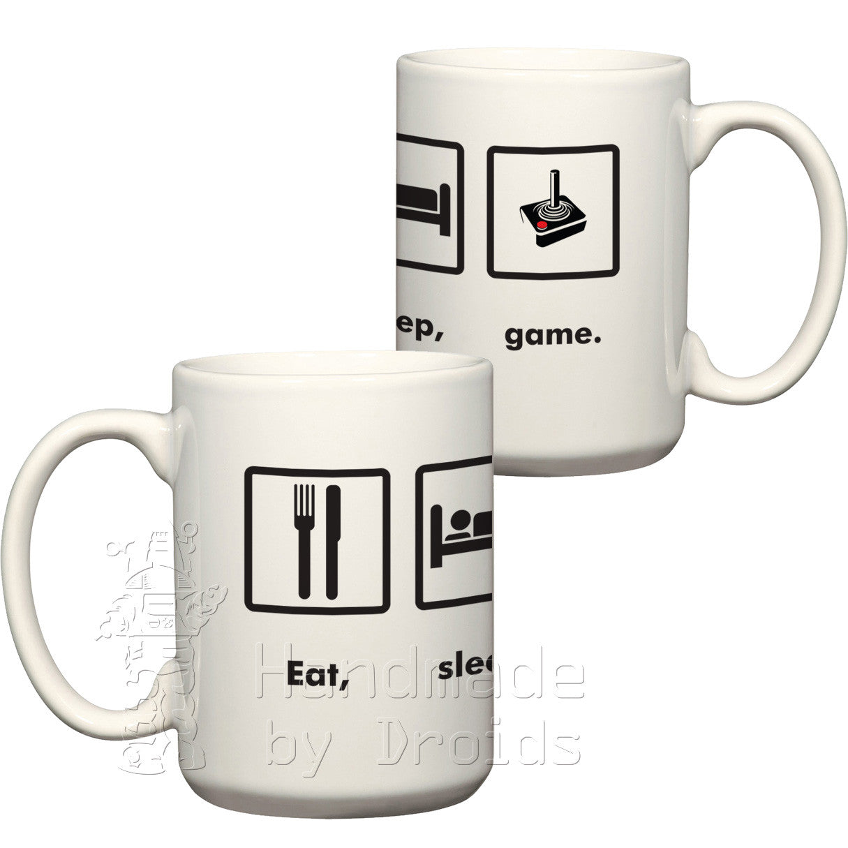Eat, sleep, game atari 2600 joystick coffee cup