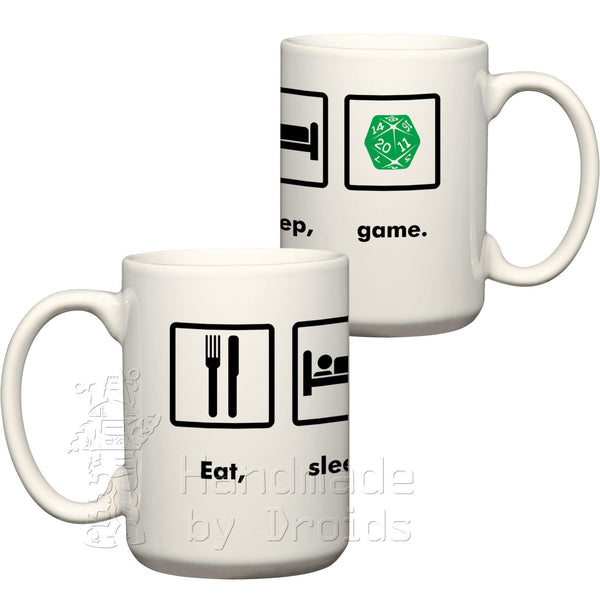 Eat, sleep, game twenty sided die d20 coffee cup
