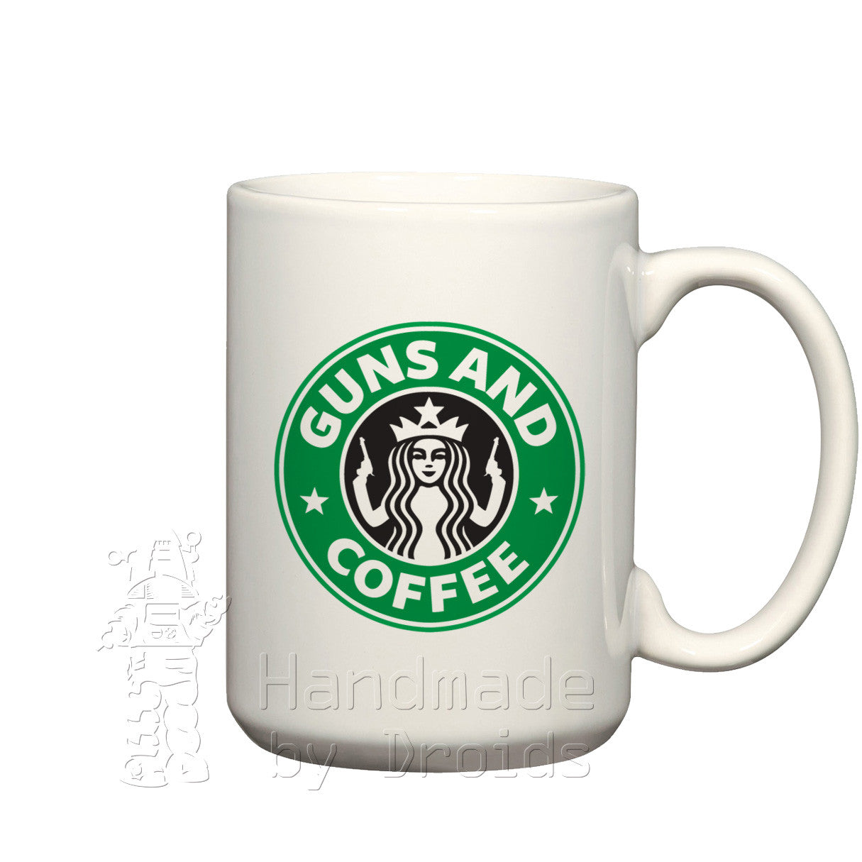 Guns and Coffee Starbucks parody Mug