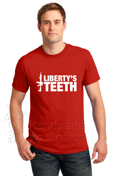 """Liberty's Teeth"" Tee (white on red)"