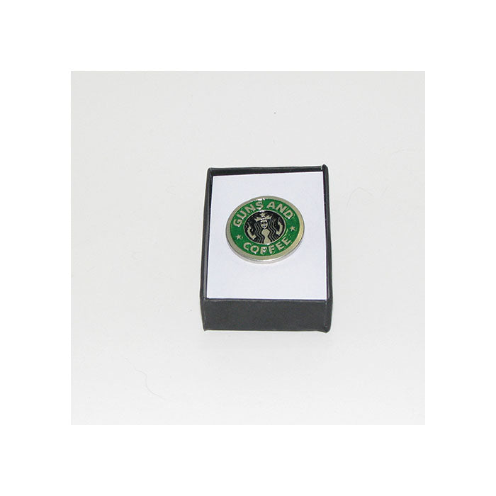 Guns and Coffee Pewter Lapel Pin (green)