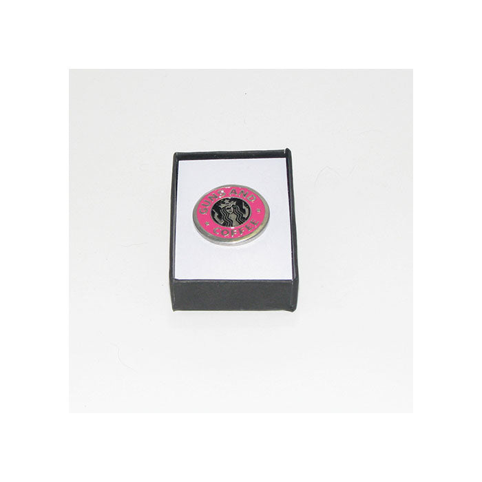 Guns and Coffee Pewter Lapel Pin (pink)