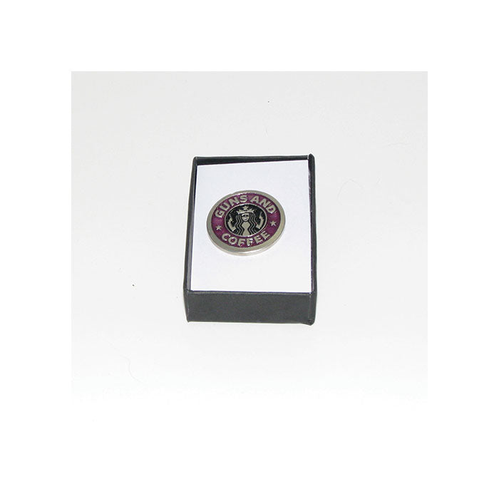 Guns and Coffee Pewter Lapel Pin (purple)