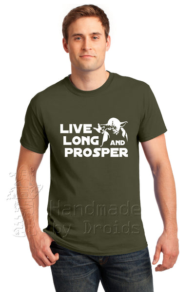 "Star Trek Wars ""Live Long and Prosper"" Tee feat. Yoda (White on Green)"