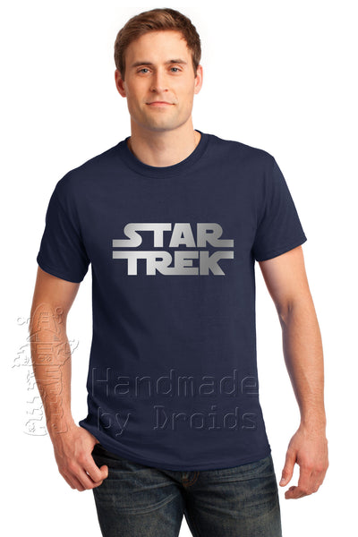 "Star Trek Wars ""STAR TREK"" logo tee (silver on navy blue)"