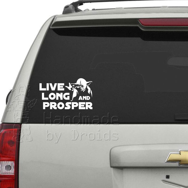 """Live Long And Prosper"" Yoda Vinyl Decal"