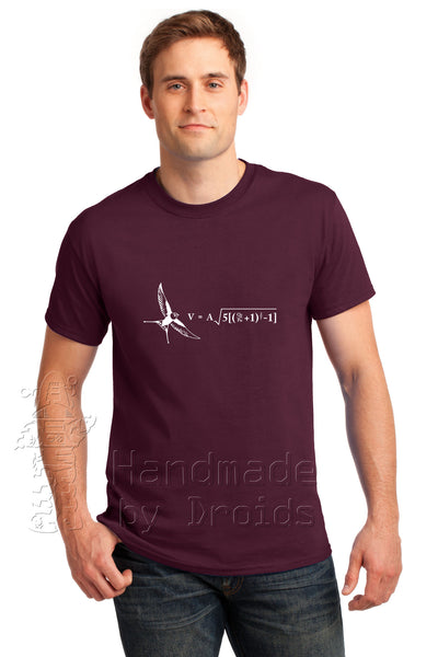 Monty Python Airspeed velocity of an unladen swallow Tee (black on tan)