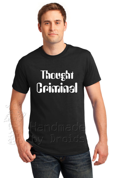 """Thought Criminal"" Tee (white on black)"