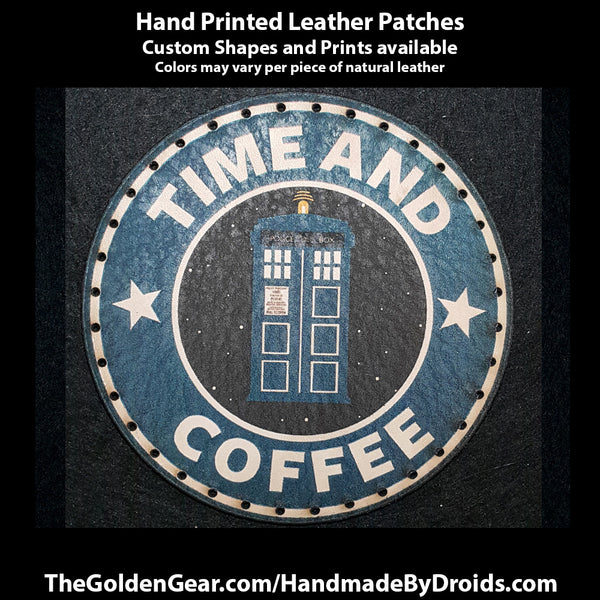 Time and Coffee (Dr Who) 3.8 inch Leather Patch