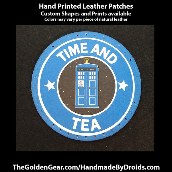 Time and Tea (Dr Who) 3.8 inch Leather Patch